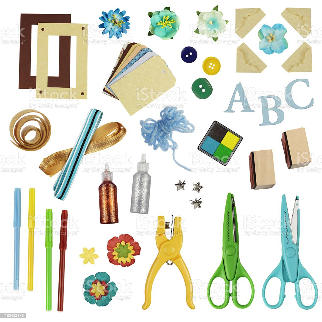 Supplies needed for scrapbooking stock photo