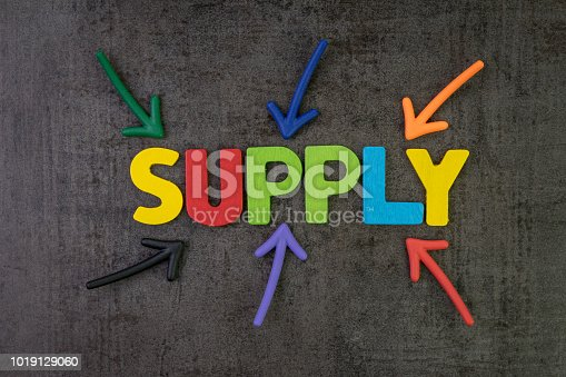 istock Supply, amount of something that firms, providers provide to marketplace, multiple arrow pointing to colorful alphabet building the word SUPPLY at the center, always come with demand 1019129060