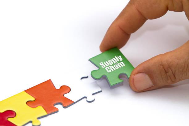 concepto de la cadena de suministro con rompecabezas. - suministros escolares fotografías e imágenes de stock