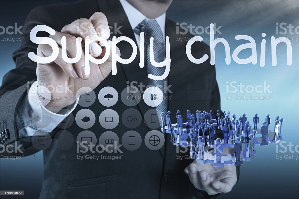 supply chain management concept by flow from supplier to custome royalty-free stock photo