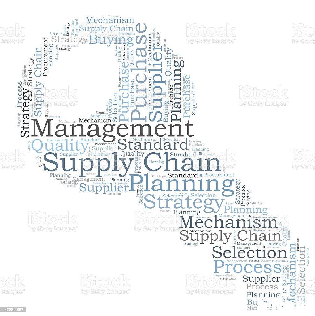 Supply chain management word cloud royalty-free stock photo