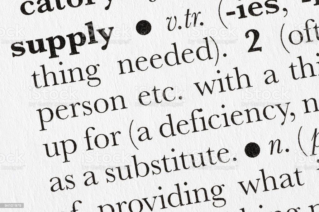 Supply word dictionary definition royalty-free stock photo