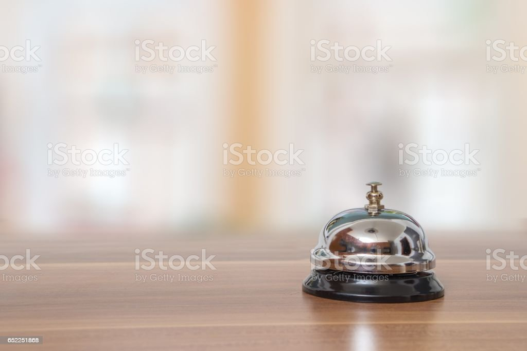 Support and service bell in hotel on blurred background. stock photo