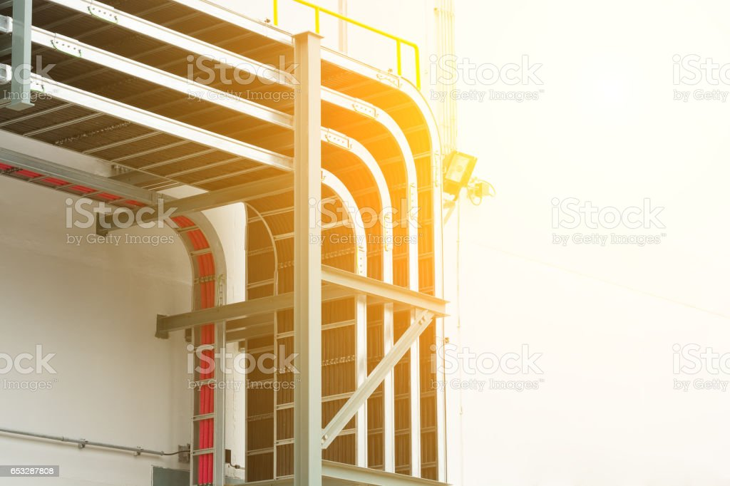 Support cable tray for sub-station building. stock photo