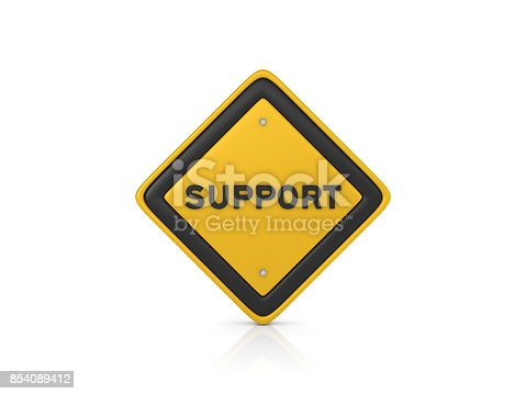 istock Support Concept Road Sign - 3D Rendering 854089412