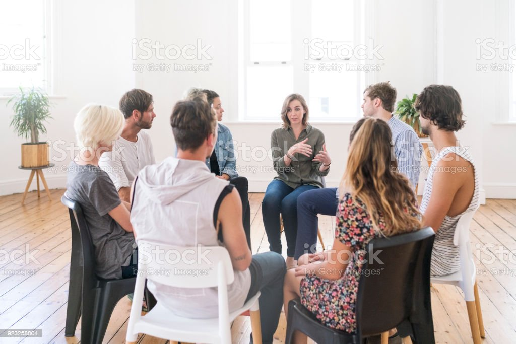 Support group gathering for a meeting stock photo