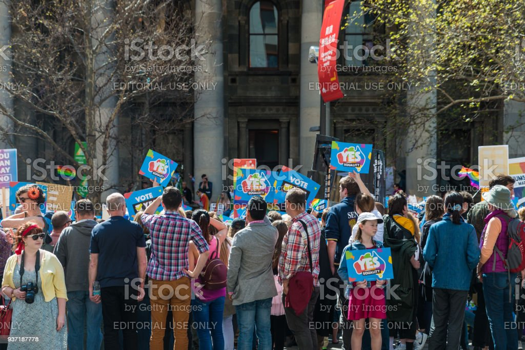 Support Marriage Equality. Crowd with Yes posters in front of South Australian Parliament stock photo