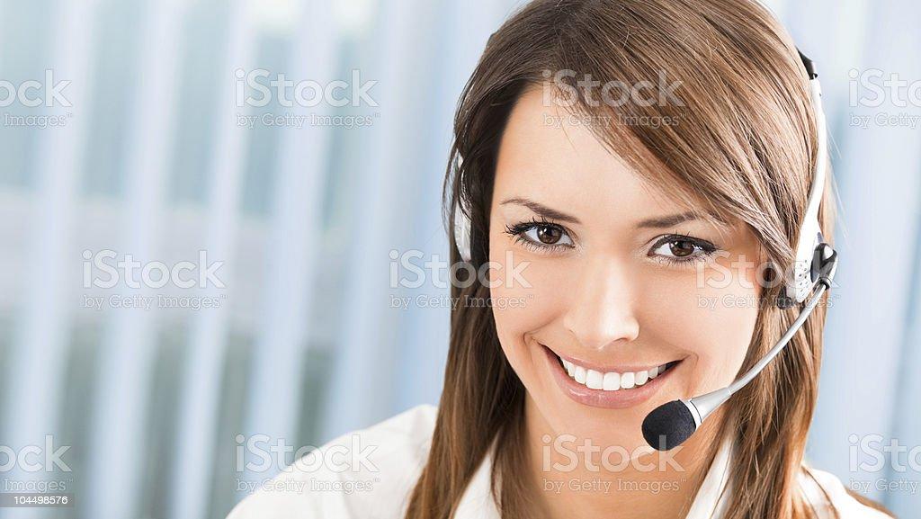 Support-Telefon-Betreiber im headset am Arbeitsplatz Lizenzfreies stock-foto