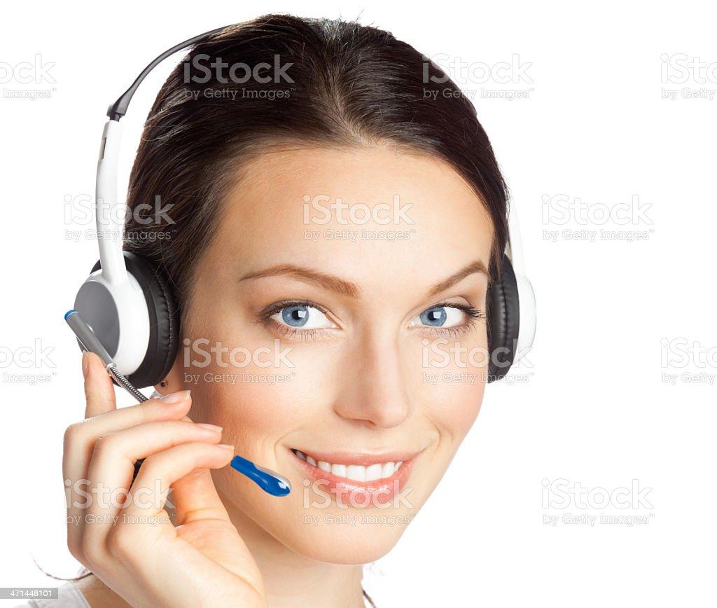 Support phone operator in headset, isolated royalty-free stock photo