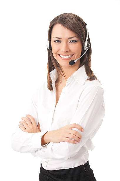 Support phone operator in headset, isolated stock photo