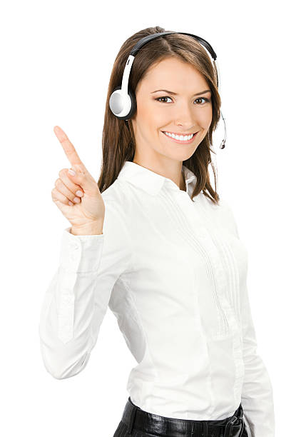 Support phone operator showing, isolated stock photo