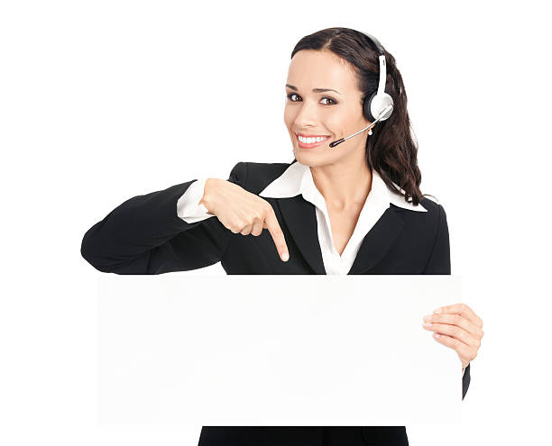 Support phone operator with signboard, isolated stock photo