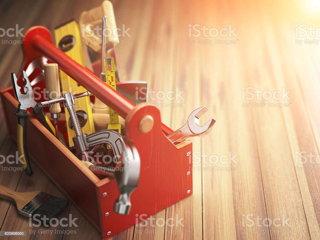 Support service concept. Toolbox with tools on wooden background – Foto