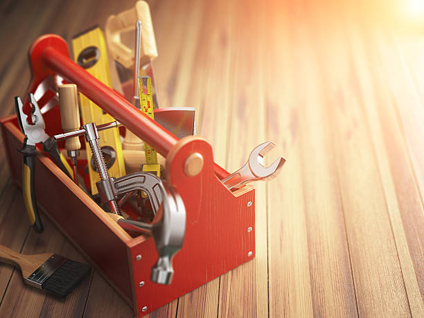 Support service concept. Toolbox with tools on wooden background stock photo