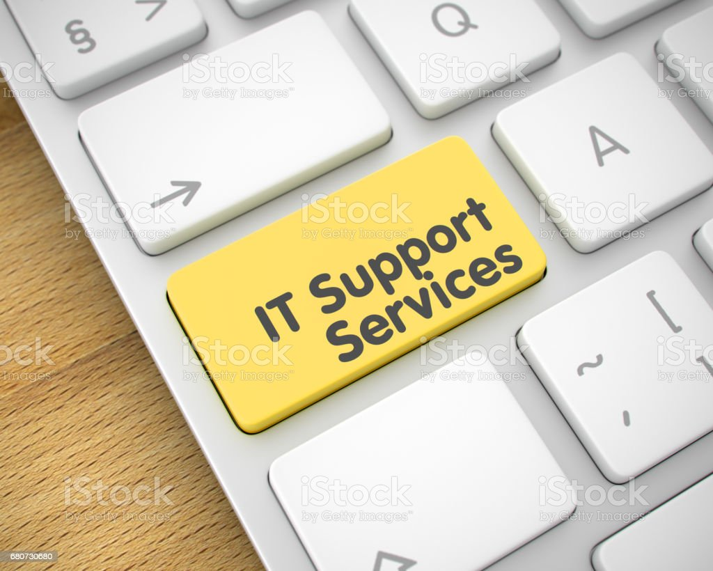 IT Support Services - Inscription on the Yellow Keyboard Key. 3D stock photo