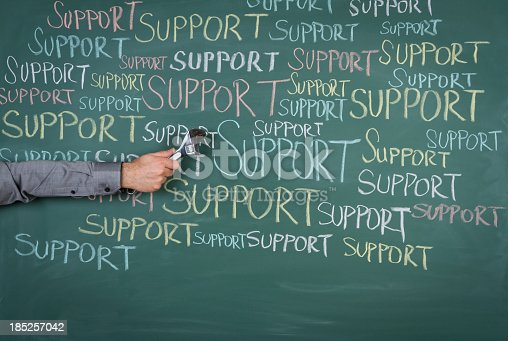 istock Support texts on a green school board 185257042