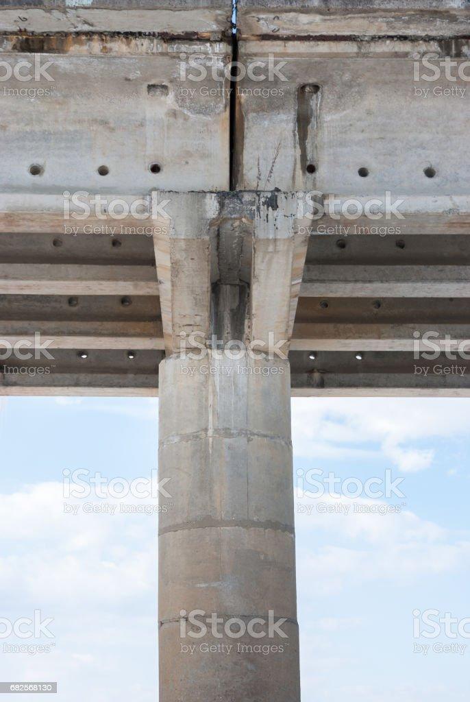 support under the concrete bridge stock photo