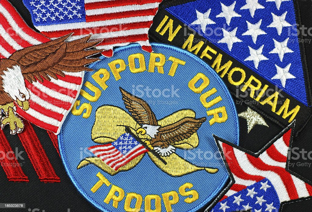 Support US Troops Patches stock photo