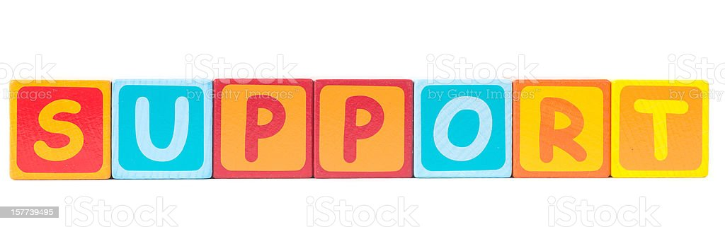 support word written with toy cubes royalty-free stock photo