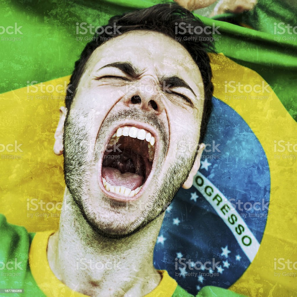 Supporters at Stadium. Furious Brazilian Fan stock photo