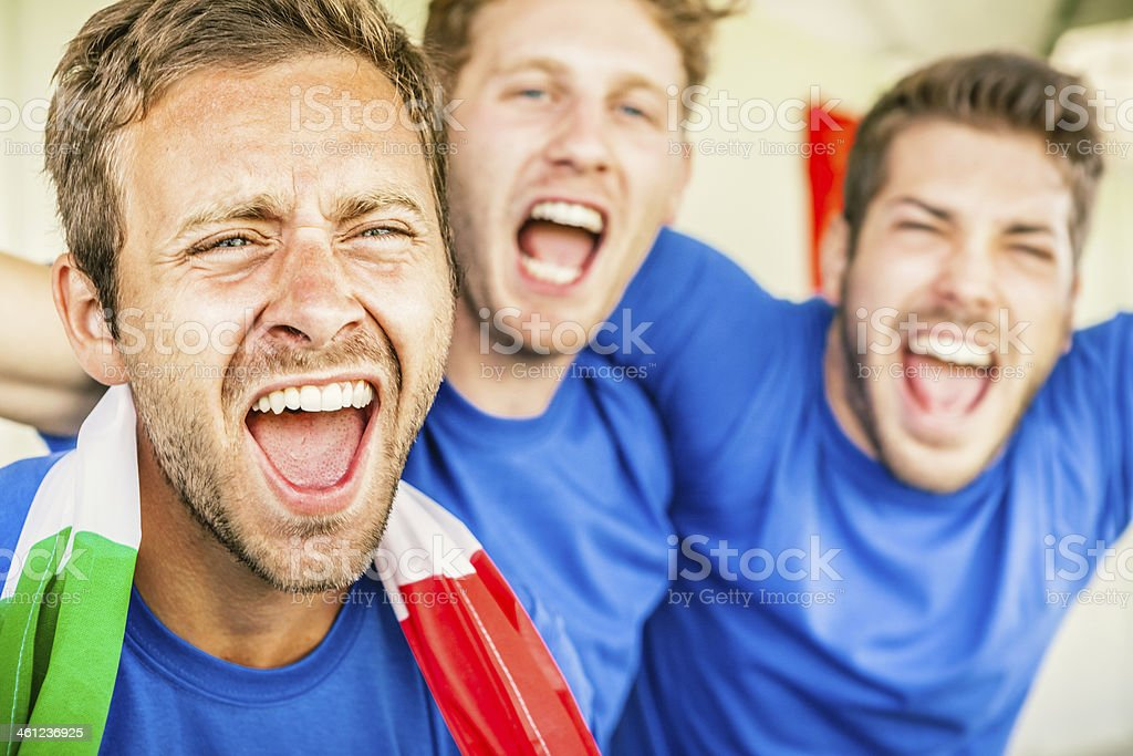 Supporters Cheering on Italy, Soccer Championship stock photo