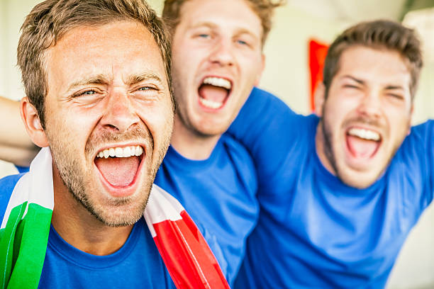 supporters cheering on italy, soccer championship - soccer competition stock photos and pictures