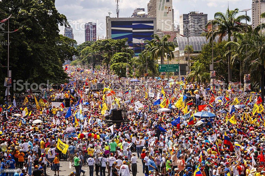 Supporters of Venezuelan Presidential candidate Enrique Capriles Radonski in parade stock photo