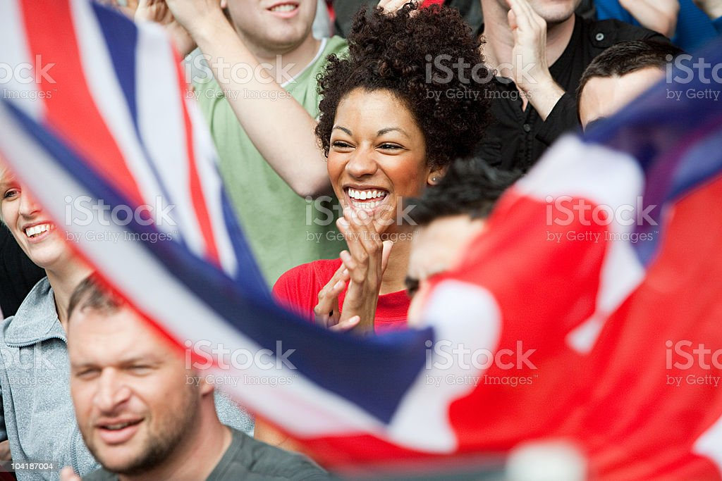 UK supporters with flag stock photo
