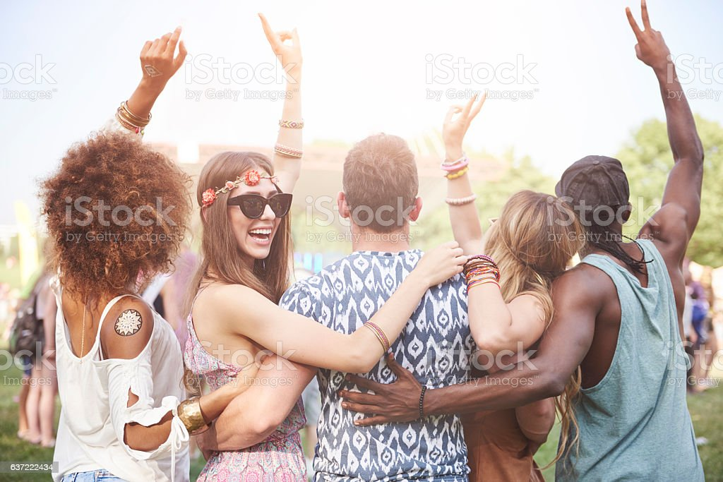 Supporting the best artists by fans stock photo