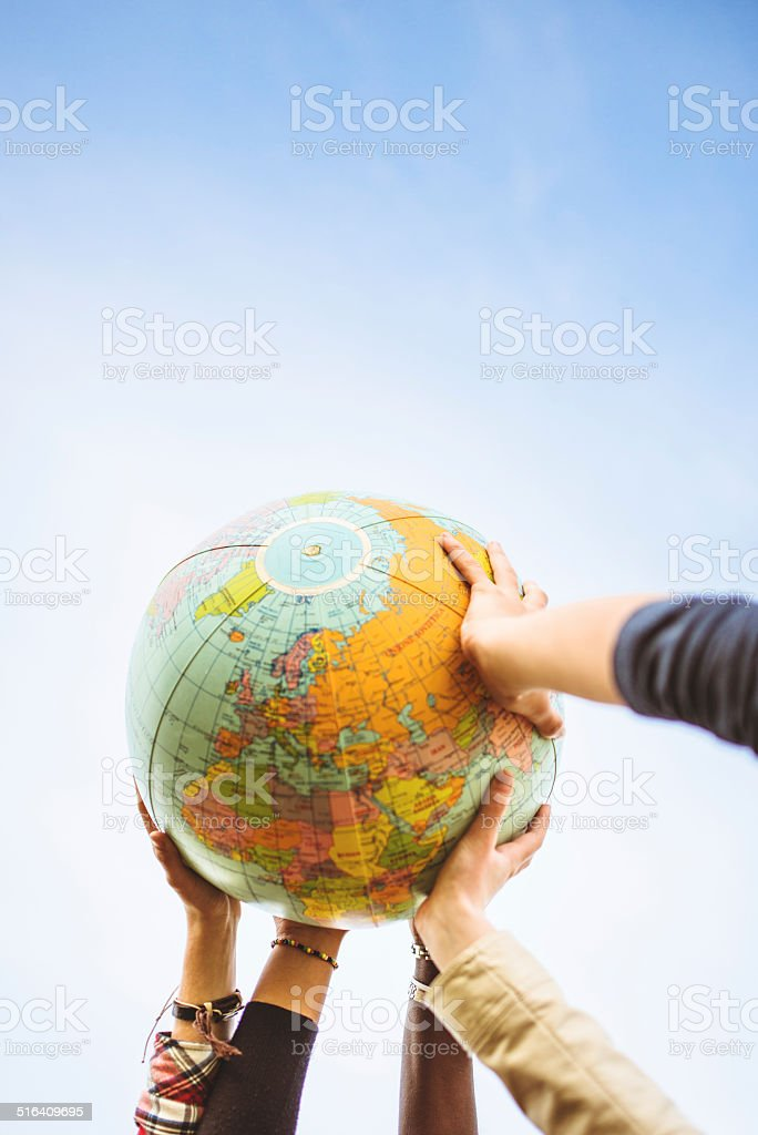 supporting the globe stock photo