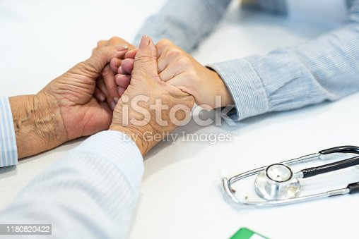 667827758 istock photo Supportive female doctor and patient holding hands close-up. 1180820422