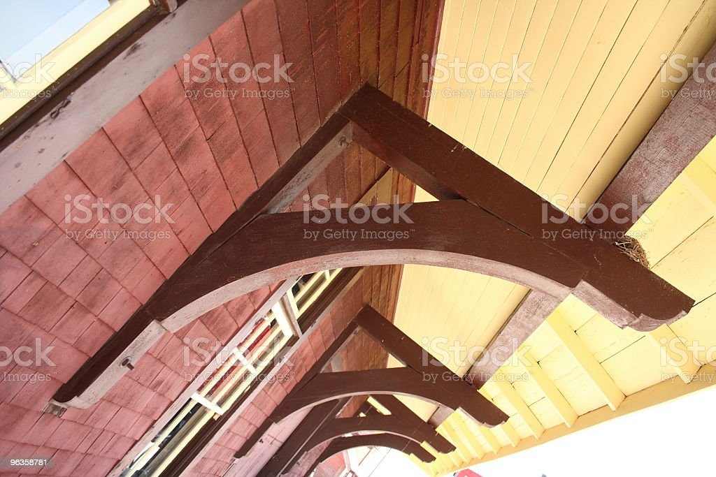 'A' supports on an old train station stock photo