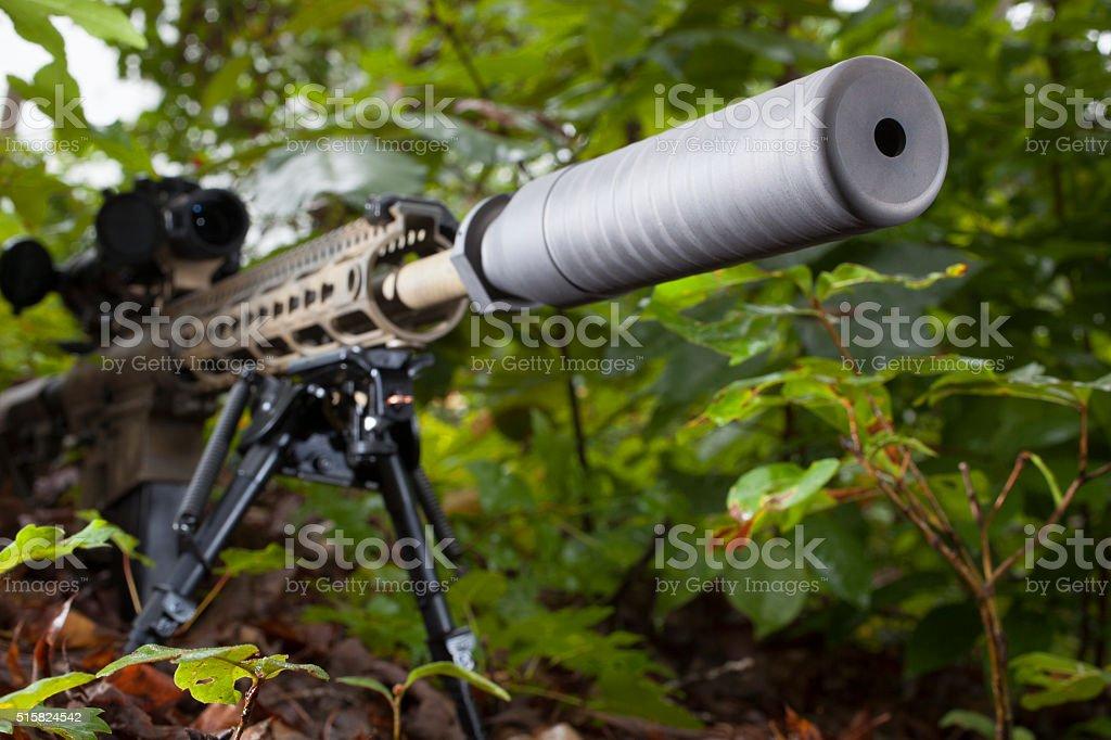 Suppressed rifle stock photo