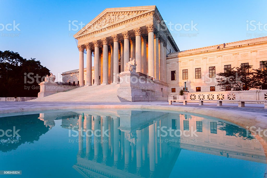 US Supreme Court and reflecting pool stock photo