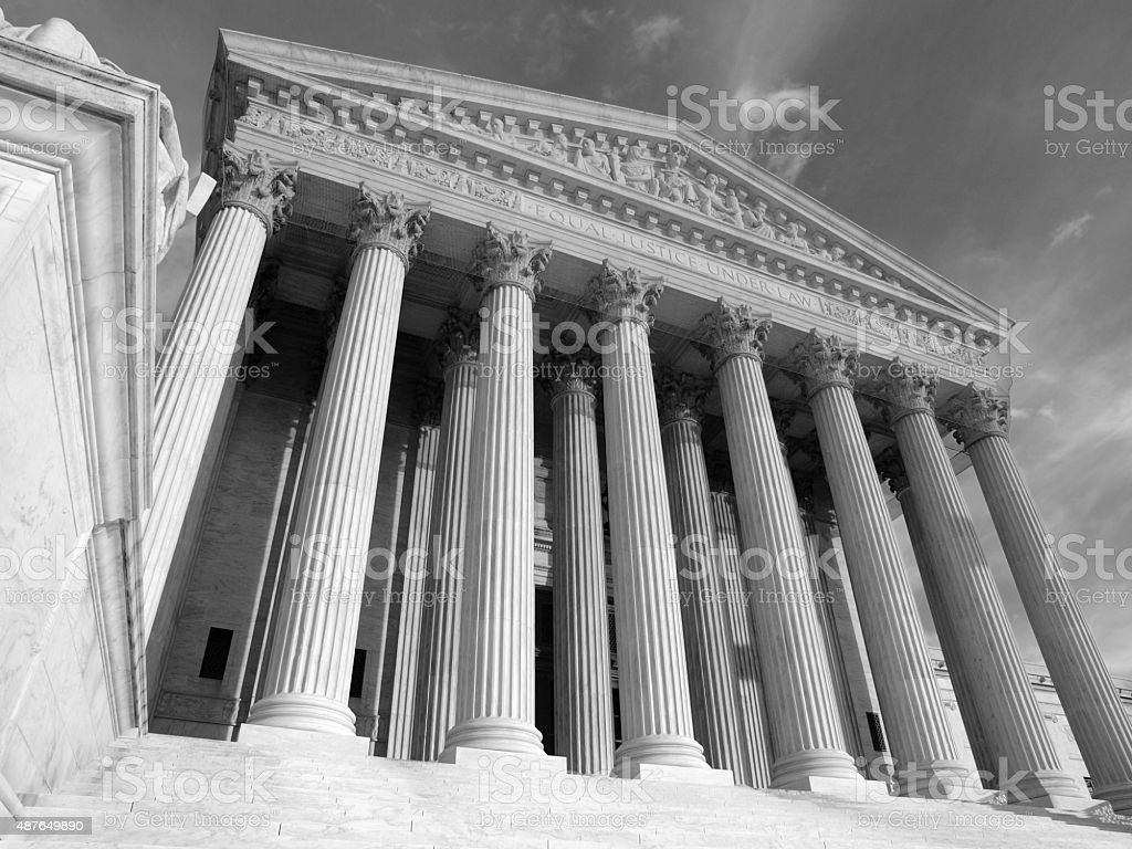US Supreme Court Building Black and White stock photo