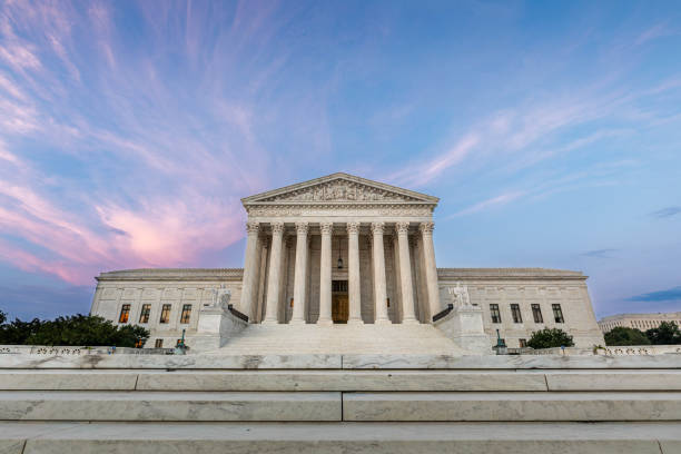 US Supreme Court Building in Washington DC The US Supreme Court Building in Washington DC us supreme court building stock pictures, royalty-free photos & images