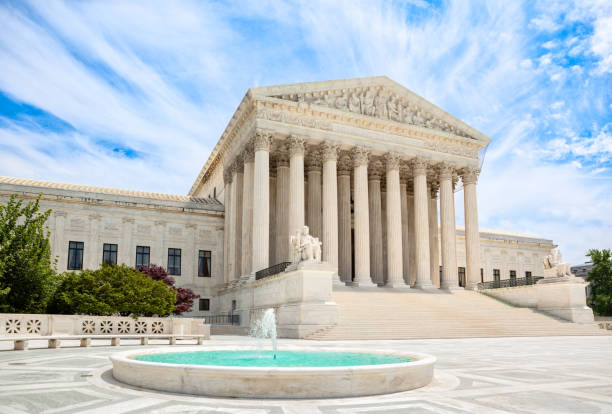US Supreme Court Building Exterior of the United States Supreme Court building in Washington, DC us supreme court building stock pictures, royalty-free photos & images
