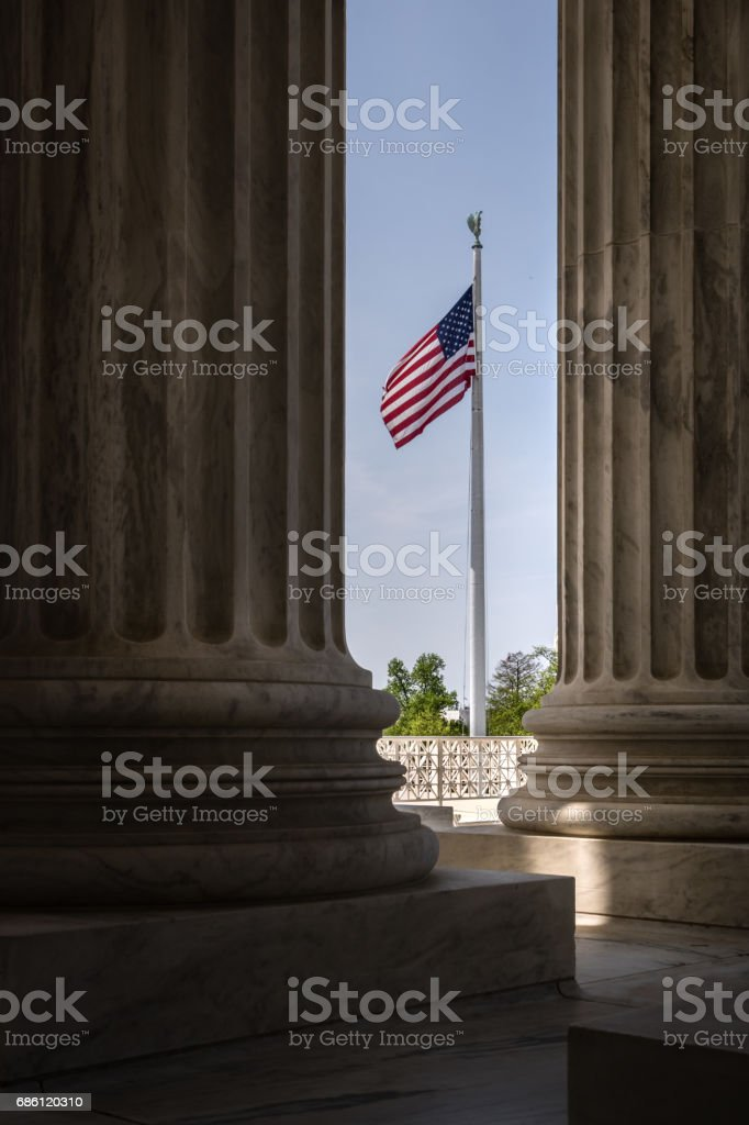 US Supreme Court Columns in Washington DC stock photo