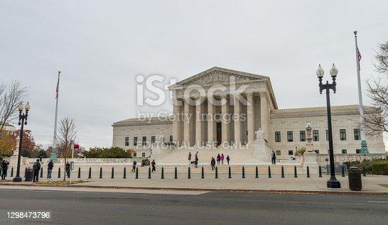 Washington DC, USA - November 30, 2019: US Supreme Court entrance in a cloudy autumn day