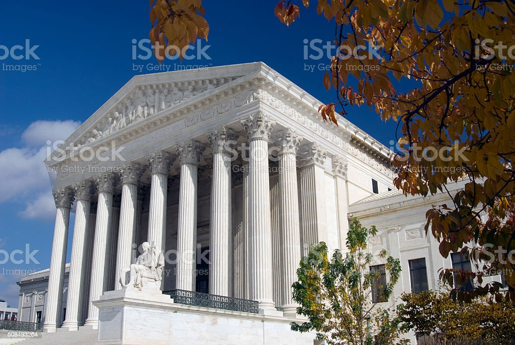 US Supreme Court in the Fall US Supreme Court in the Fall Autumn Stock Photo