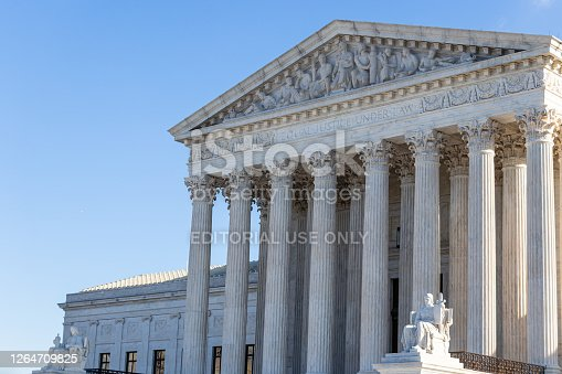 Front of the United States Supreme Court on clear, sunny day in Washington, D.C.