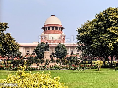 Supreme court of India building in New Delhi, India.