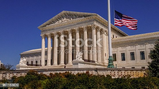 Wide View of the United States Supreme Court with American Flag - Washington DC