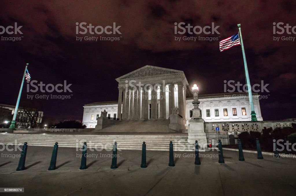 Supreme Court of the United States at Night in Washington, DC stock photo