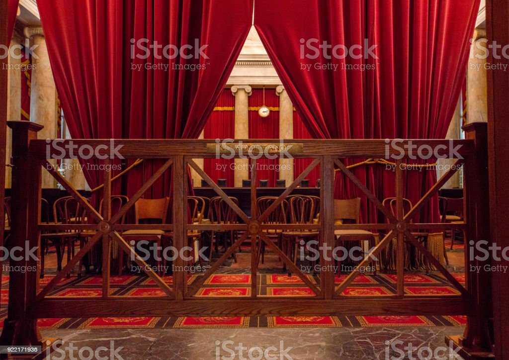 Supreme Court of the United States Chamber in Washington, DC stock photo