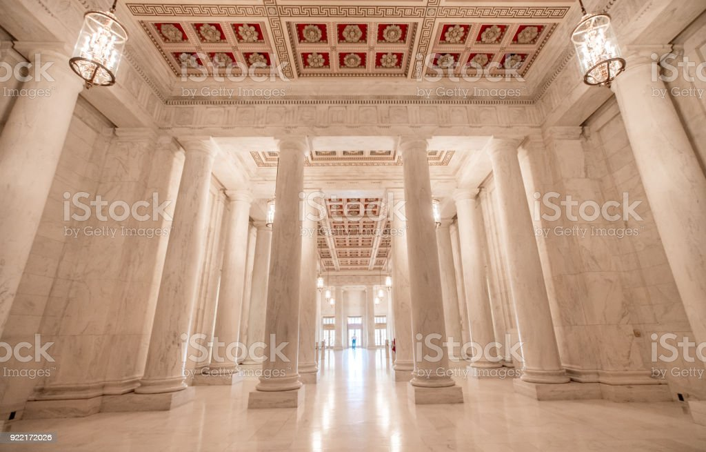 Supreme Court of the United States Great Hall in Washington, DC stock photo