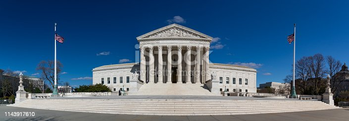 A panorama picture of the Supreme Court of the United States' front facade.