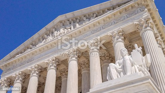 United States Supreme Court in Washington DC. with Statue of the Guardian or Authority of Law.