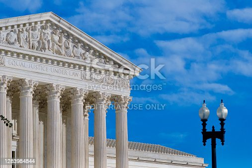 Washington, D.C. / USA - November 3, 2020: The U.S. Supreme Court is bathed in afternoon sunlight on the day of the U.S. presidential election between President Donald J. Trump and challenger Joe Biden.