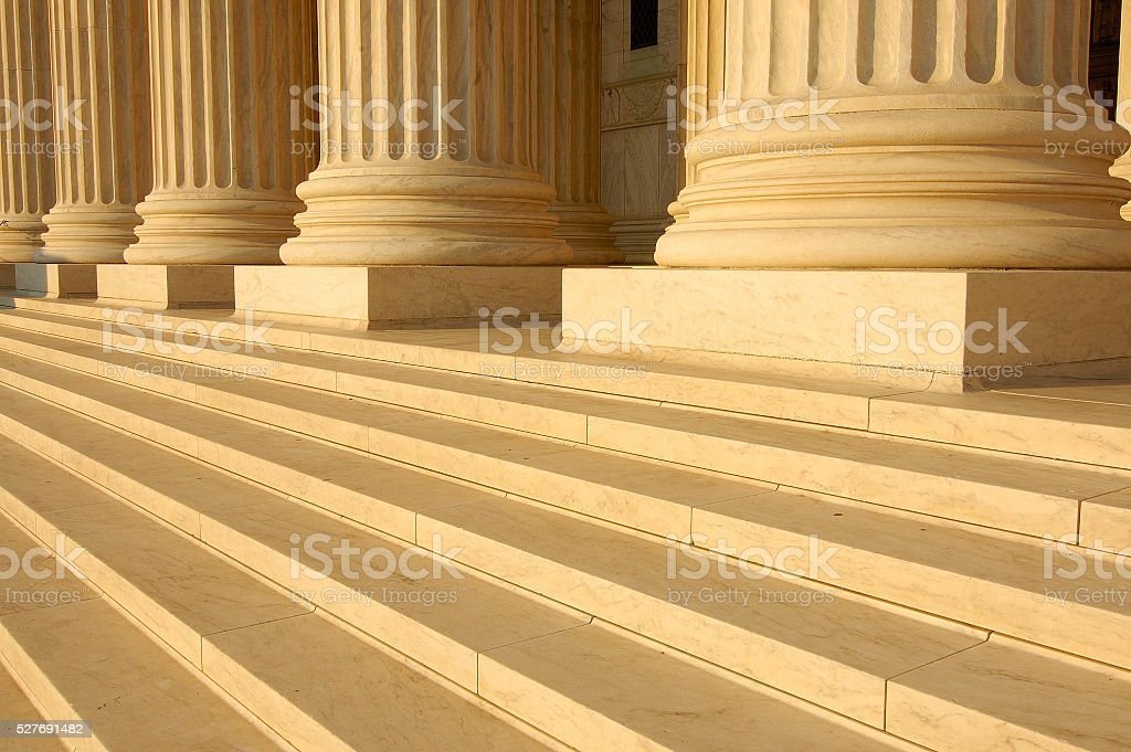 Steps and columns on the portico of the United States Supreme Court...